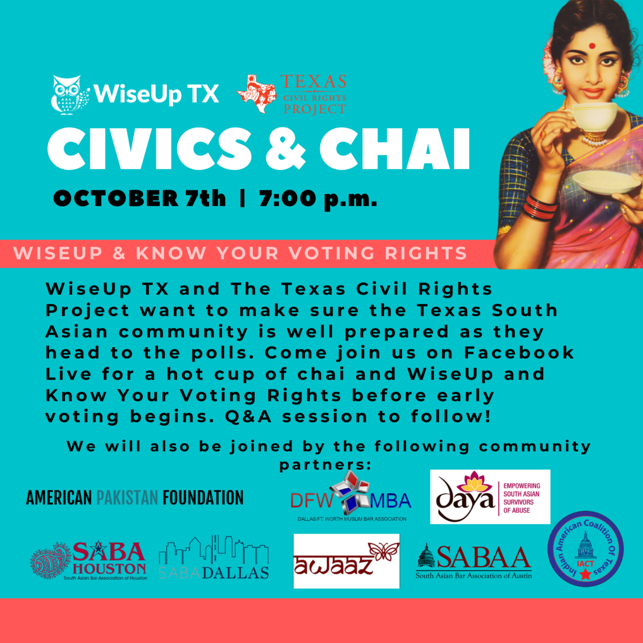 Civics & Chai: WiseUp & Know Your Voting Rights
